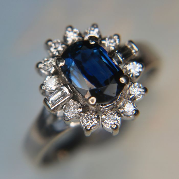 Sapphire And Diamond Flower Ring Very Expensive Goldsmith S Craft
