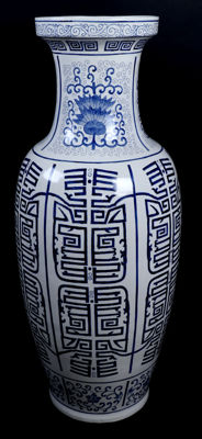 Large blue and white decorated earthenware vase - Hong Kong - late 20th century