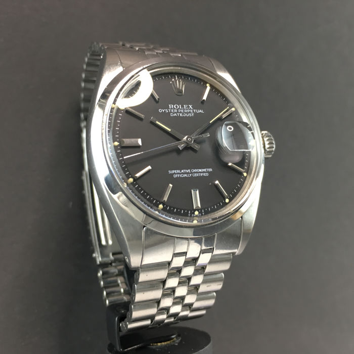 Rolex Datejust Black Dial Ref 1600 Oyster Perpetual Stainless