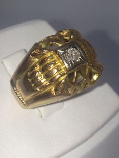 Beautiful cocktail ring in 18 kt (750) yellow gold, with a diamond, size: 48, weight: 3.93 g - Low reserve price.