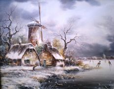 A.v.d.Hoeven (20th century) -  Winterlandschap