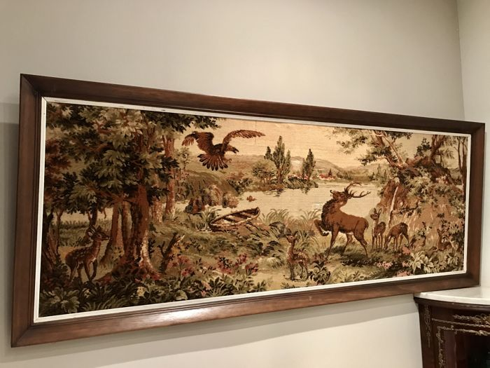 Large Gobelin wall tapestry with medieval hunting scenes