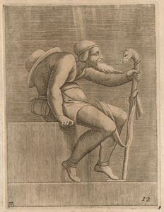 Adamo Scultori (actief 1547-1587) after Michelangelo Buonarroti (1475 - 1564) - A Hunchback man -  from the Sixtine Chapel