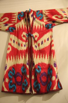 Antique old vintage Chapan ikat coat - Uzbekistan