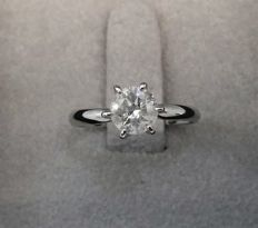 1.25 ct Solitaire Diamond Ring - D / SI2 - 14K White Gold + AIG Big Certificate  + Laser Inscription On Girdle  .