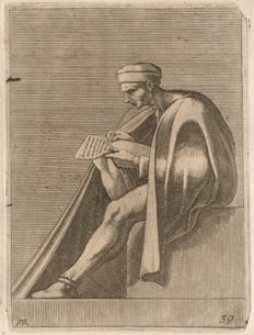 Michelangelo Buonarroti (1475 - 1564) - Sixtine Chapel, a man seated on a block, engraved by  Adamo Scultori - Ca.1550-1570