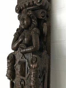 Very nice and large oak wooden carving - Caryatid - France - 17th century