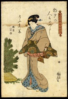 """Woodblock print by Utagawa Yoshitora (1836–1882) - """"Geisha"""" from the series """"A comparison of Five Flowers with Verses"""" - Japan - around 1850"""