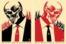 Shepard Fairey (OBEY) and Francisco Reyes Jr - Set of 2 - Deceit & Destruction l