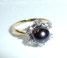 Ring in 14 kt / 585 white gold with gold with 6 diamonds G/VVS of 0.34 ct + pearl - RS 51.5 / 16.5 mm - adjustable