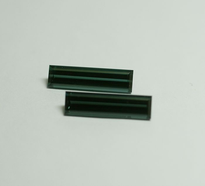2 Tourmaline (Indicolite) , green-blue,  6.91 ct