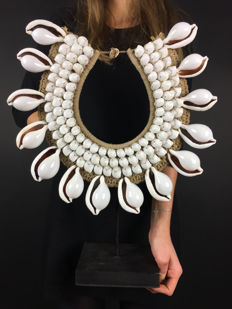 Decorative shells necklace on a stand - Papua New Guinea - 48 x 39 cm