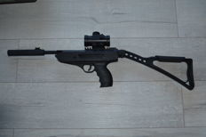 Air rifle with removable stock, 700 FPS, with red dot