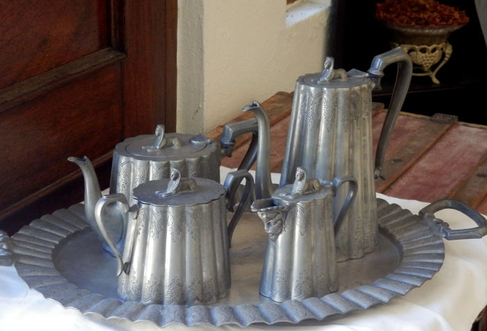 Five piece carved pewter coffee and tea set, ca. 1990's