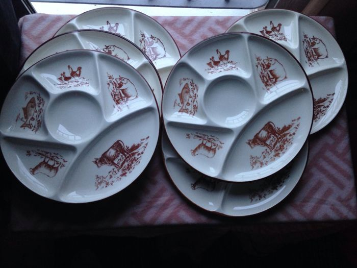Gien set of 6 fondue plates in French ceramic : french ceramic dinnerware - pezcame.com