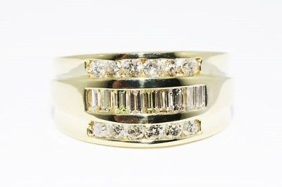 14k Gold ring 3 row Round- Baguette Cut White Diamonds .96cts - Size: 17.25 mm (can be resized)