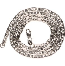 18 kt white gold Figaro link necklace - Length: 43 cm