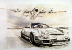 Porsche 911 GT3 RS + Lockheed C-130 Hercules - Race Cars - Original Watercolour - 50 x 70 cm - By Gilberto Gaspar