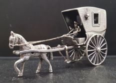 Silver miniature, horse and wagon, The Netherlands, 1980