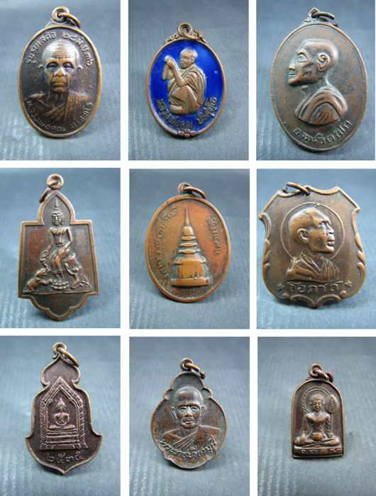 A collection of 9 Buddha amulets / pendants - Thailand - 1970 and later.