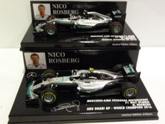 Minichamps - Schaal 1/43 - 2x Nico Rosberg Mercedes AMG W07 Hybrid F1 2016 - GP Japan & Abu Dhabi - World Champion