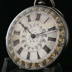 Silver pocket watch - Silver & Gold dial - Unisex - ca. 1910