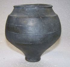 Roman pottery smooth-walled goblet with wheel stamp decoration - 13.7 cm