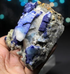 Very Rare Terminated Blue Afghanite with Diopside --8.3 x 8.7 x 4.2 cm  - 337 gr
