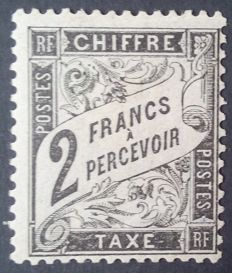 France 1881-92 – Postage Due, Duval Type, 2 f. black, signed Calves – Yvert no. 24