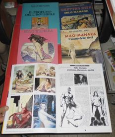 Manara, Milo - 4x erotic comic volumes in Italian (1988-93) + signed central insert