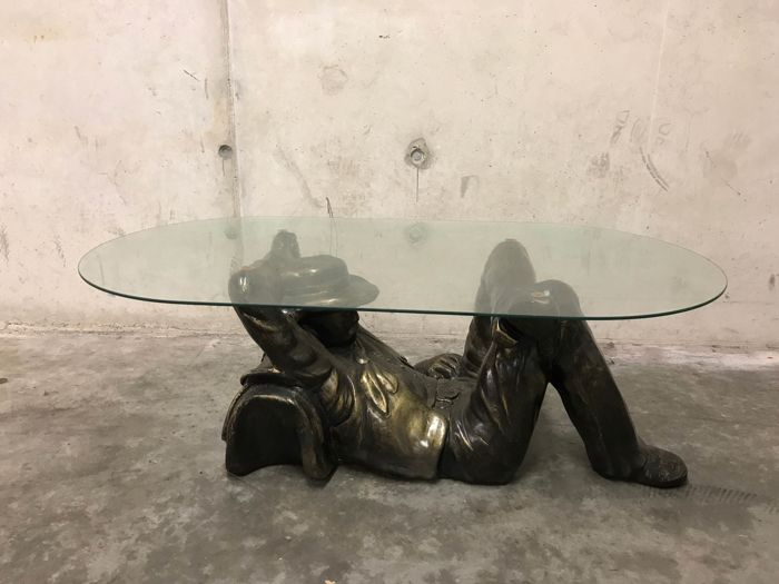 Unique Bronze Look Cowboy Coffee Table