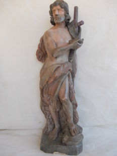 Large Wooden Statue of Saint John the Baptist - 1900s