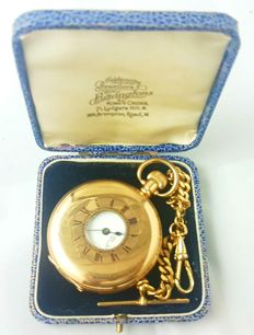 bravingtons gold plated half hunter pocket watch