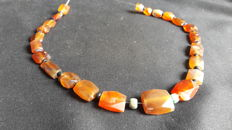 Roman Carnelian and Ancient Glass Necklace, 420 mm