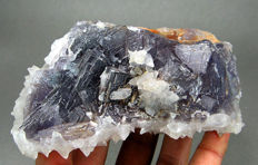 Beautiful Fluorite crystals with Calcite crystals specimen - 133 x 88 x 55 mm - 781 gr