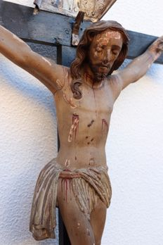 Large crucified christ polychrome wood - 17th century - Portugal