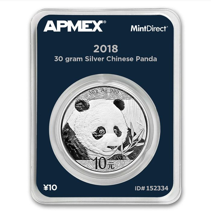 China - 10 Yuan 2018 'Panda' in MintDirect slap packaging - 30 gram 999 silver