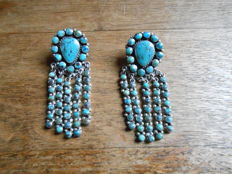 Navajo Native American Earrings Turquoise Sterling Silver - 2nd half 20th century
