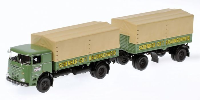 Minichamps - Scale 1/43 - Bussing LU 11/16 1961 Lorry + Trailer Schenker & Co. Braunschweig