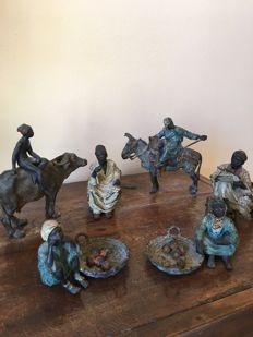 An attractive collection of 6 cold-painted Vienna bronze Orientalist figures - 3 marked 'B' for Bergman foundry - Austria - early 20th century