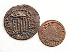 Spain - Catalonian Uprising - Guerra dels Segadors - Lot of 2 coins - Sise and Diner - 1641 and 1611 - Barcelona and Vic