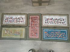 "5 rectangular silk embroideries with decoration of ""games for 100 children"" – China – mid 20th century."