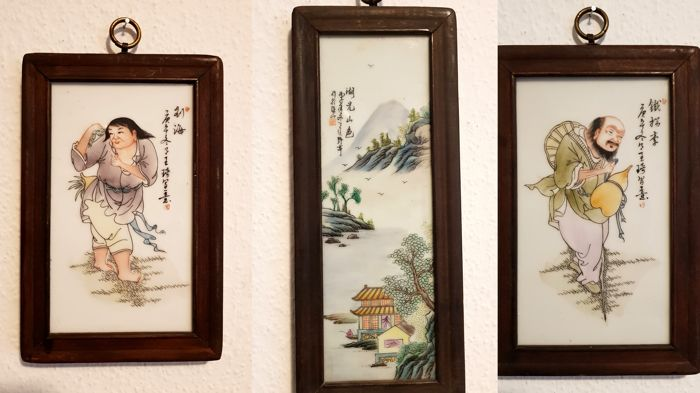 Painting on porcelain, scholar - lot of 3 pictures - China - 20th century