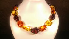 Short 100% Genuine Mix colour Baltic Amber necklace, 43 grams