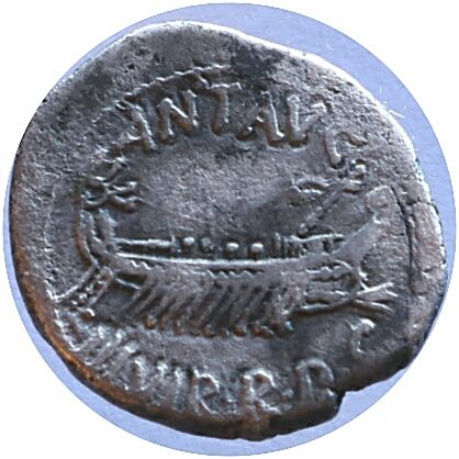 Roman Empire - M. Antonius - Denarius 32-31 BC, ar, 3.10 g. , 17.12 mm,  A Praetorian Galley facing right, mast with banner in prow. ANT AVG / III VIR RPC, R/ Legion's eagle between two banners; LEG II rare and scarce.