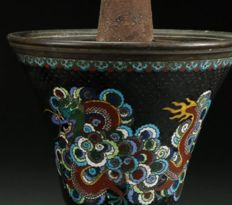 Cloisonne censer with  dragons chasing flame - Qing Dynasty late 19th C
