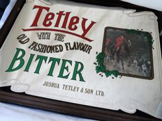 Beautiful original advertising mirror for the English beer Tetley bitter from the  1970s/80s.