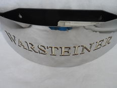 Very nice curved and reflective stainless steel wall lamp for Warsteiner. Collector's item from the 2nd half of the 20th century!