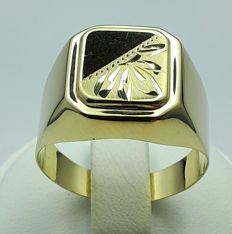14/ 585 Ct  Yellow Gold Men's Ring, Size 20.50mm, Total Weight 3.62g,