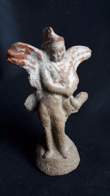 Greek Terracotta figurine of Eros holding a rooster, 118 mm.